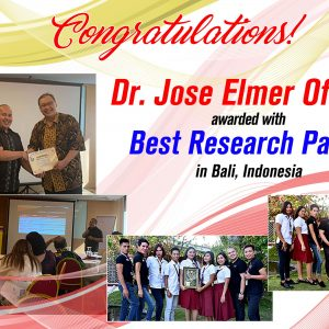Dr. Oficiar awarded with Best Research Paper in Bali, Indonesia