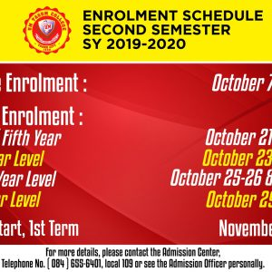 Enrolment Schedule for Second Semester SY: 2019-2020