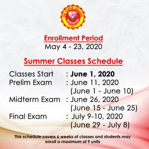 SUMMER ENROLLMENT AND SCHEDULE OF CLASSES