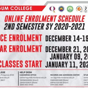 Online Enrolment Schedule for 2nd Semester SY: 2020-2021