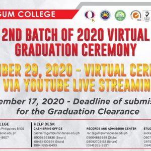 Schedule for 2nd Batch of 2020 Virtual Graduation Ceremony