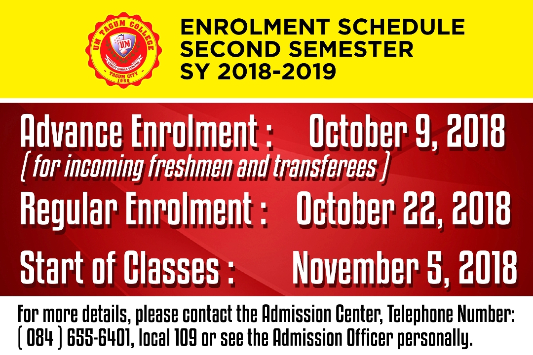 Enrolment Schedule for Second Semester SY 2018-2019