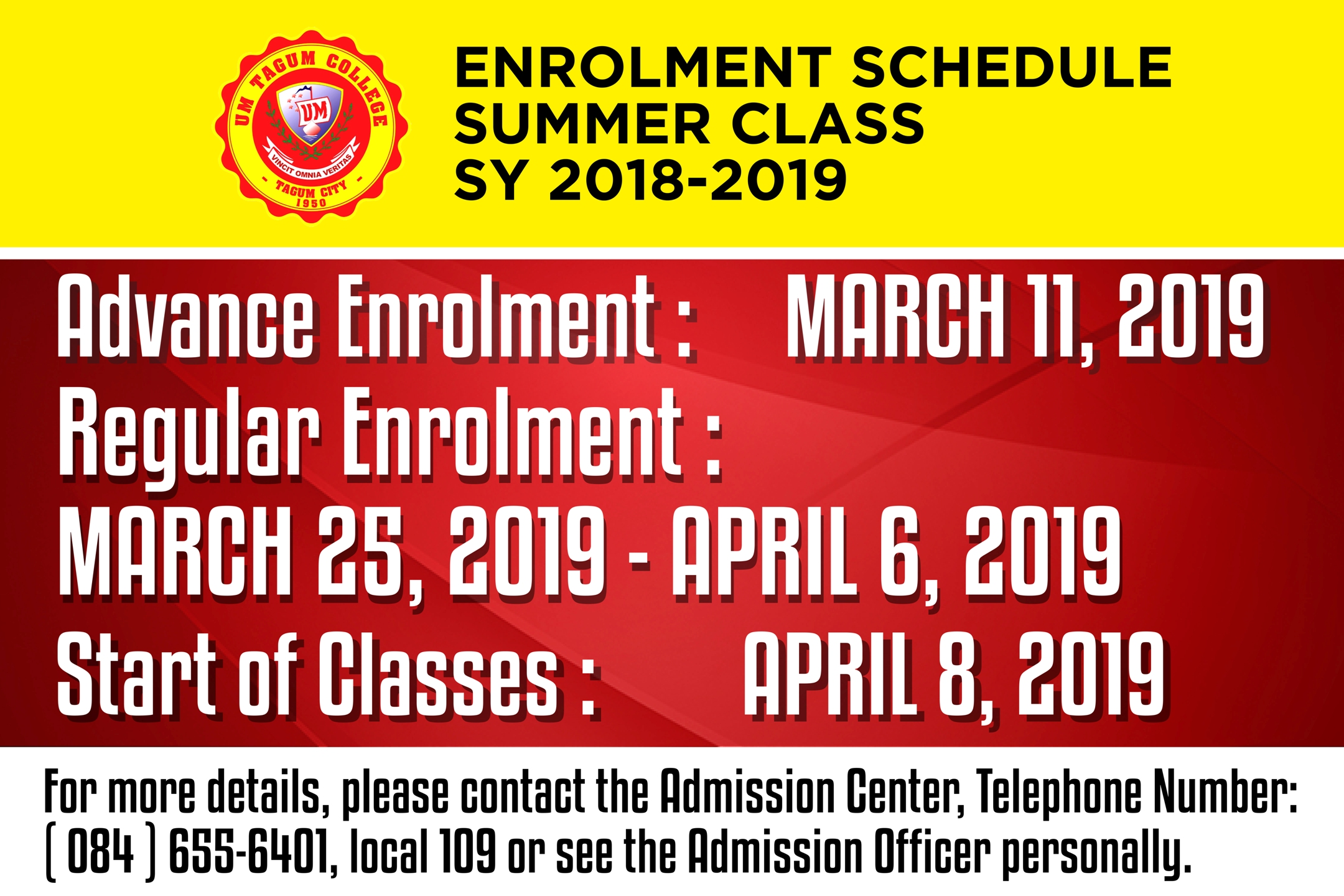 ENROLMENT SCHEDULE FOR SUMMER CLASS : SY 2018-2019
